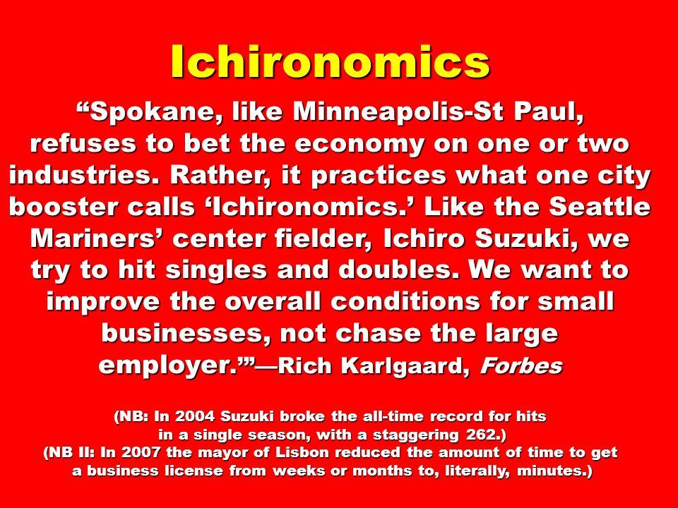 Ichironomics Spokane, like Minneapolis-St Paul, refuses to bet the economy on one or two industries.