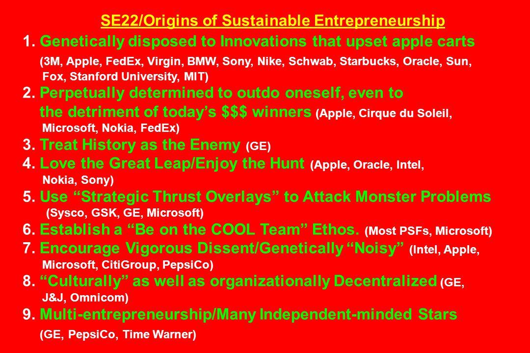 SE22/Origins of Sustainable Entrepreneurship 1. Genetically disposed to Innovations that upset apple carts (3M, Apple, FedEx, Virgin, BMW, Sony, Nike,