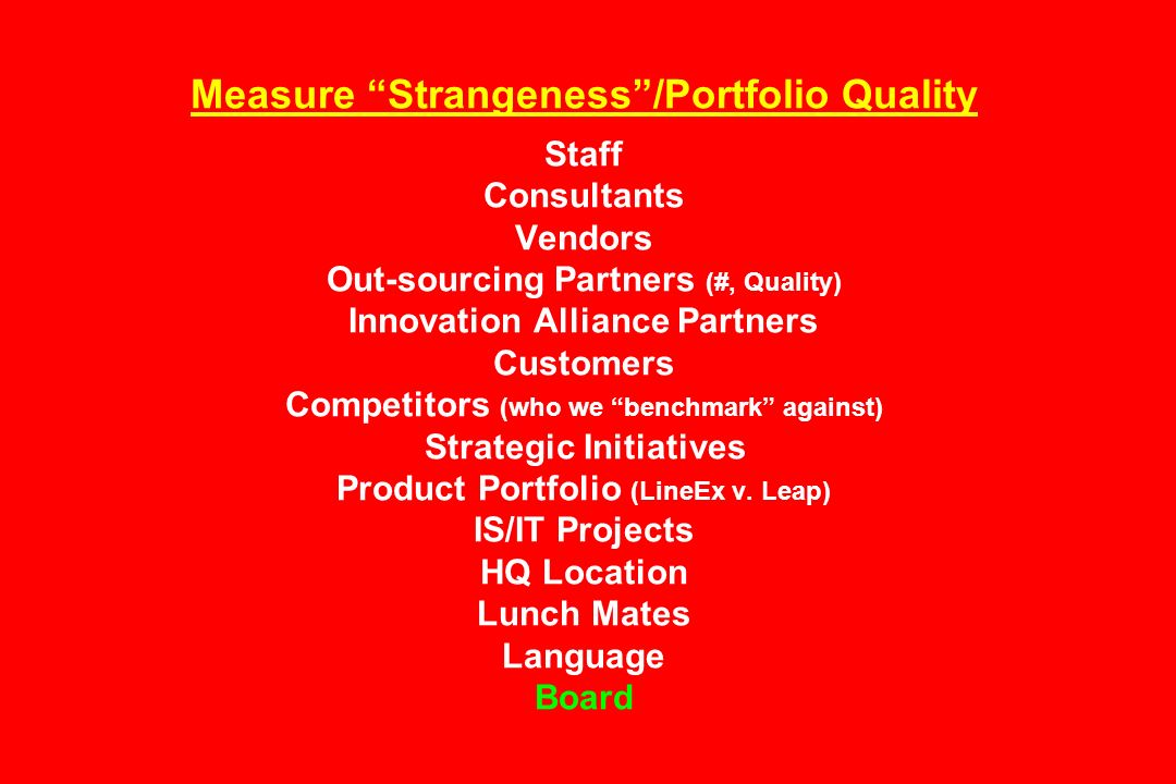 Measure Strangeness/Portfolio Quality Staff Consultants Vendors Out-sourcing Partners (#, Quality) Innovation Alliance Partners Customers Competitors