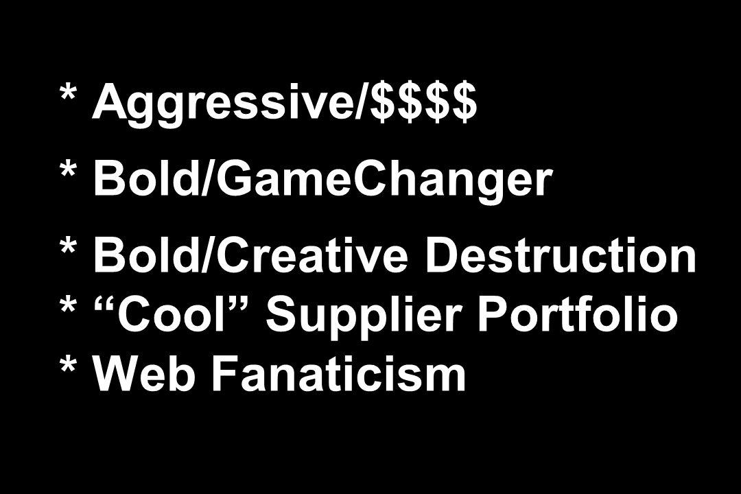 * Aggressive/$$$$ * Bold/GameChanger * Bold/Creative Destruction * Cool Supplier Portfolio * Web Fanaticism