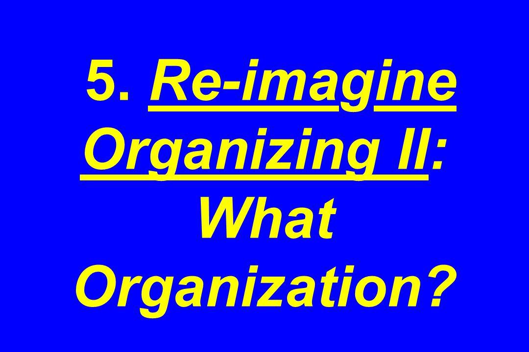 5. Re-imagine Organizing II: What Organization?