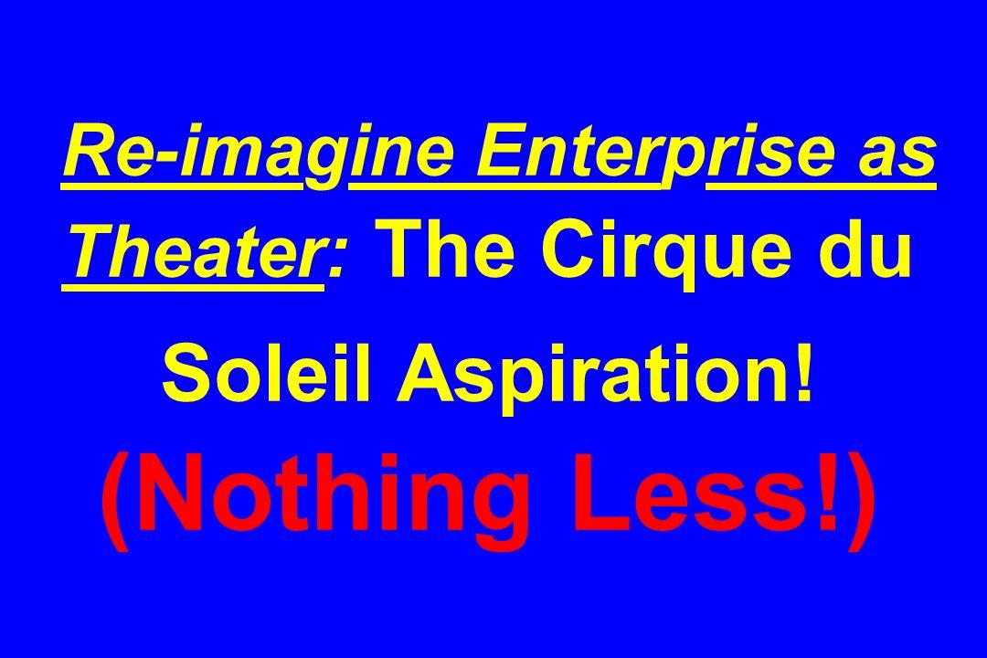 Re-imagine Enterprise as Theater: The Cirque du Soleil Aspiration! (Nothing Less!)