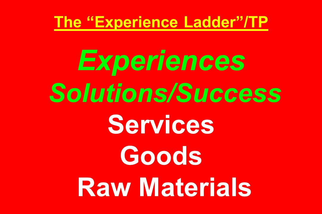 The Experience Ladder/TP Experiences Solutions/Success Services Goods Raw Materials