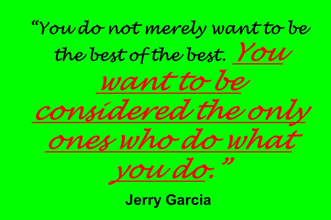You do not merely want to be the best of the best. You want to be considered the only ones who do what you do. Jerry Garcia