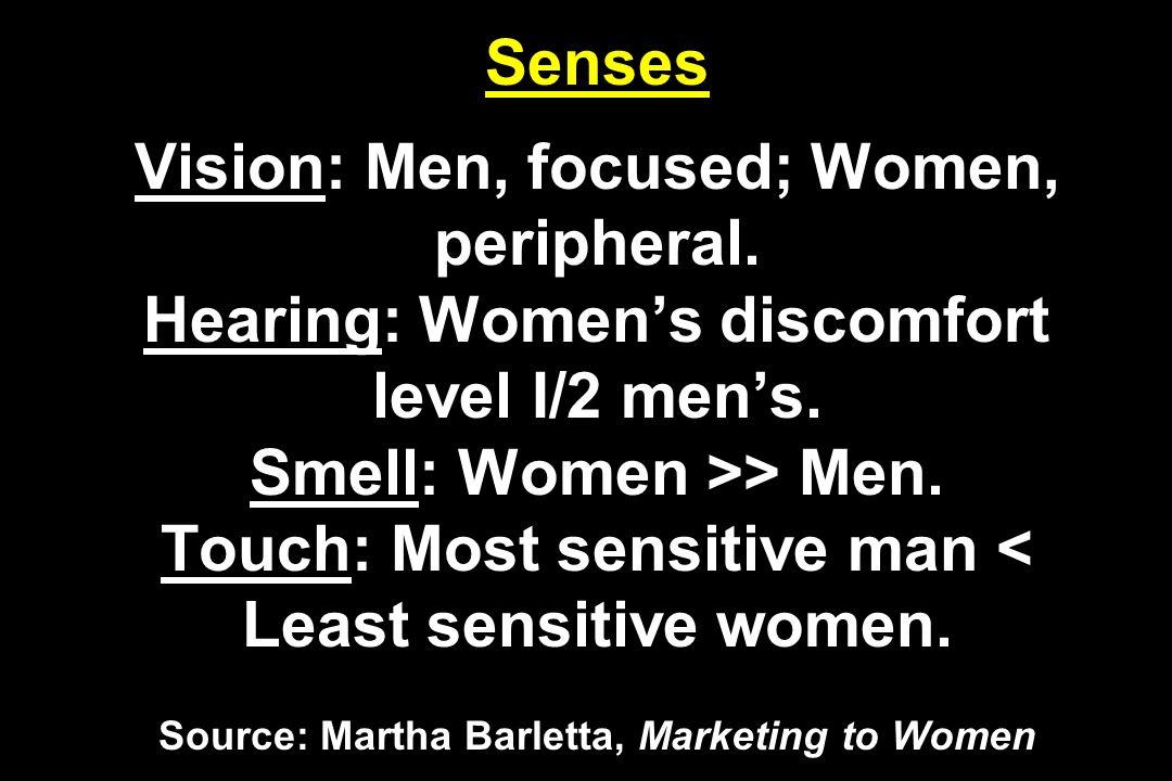 Senses Vision: Men, focused; Women, peripheral. Hearing: Womens discomfort level I/2 mens. Smell: Women >> Men. Touch: Most sensitive man < Least sens
