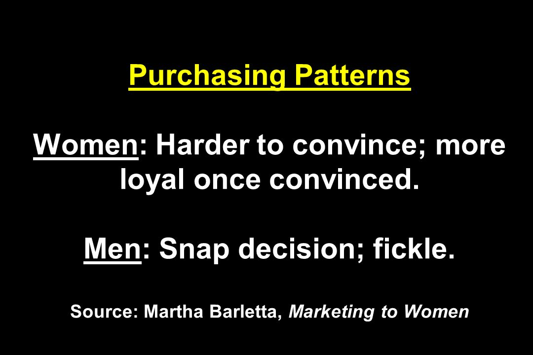 Purchasing Patterns Women: Harder to convince; more loyal once convinced. Men: Snap decision; fickle. Source: Martha Barletta, Marketing to Women