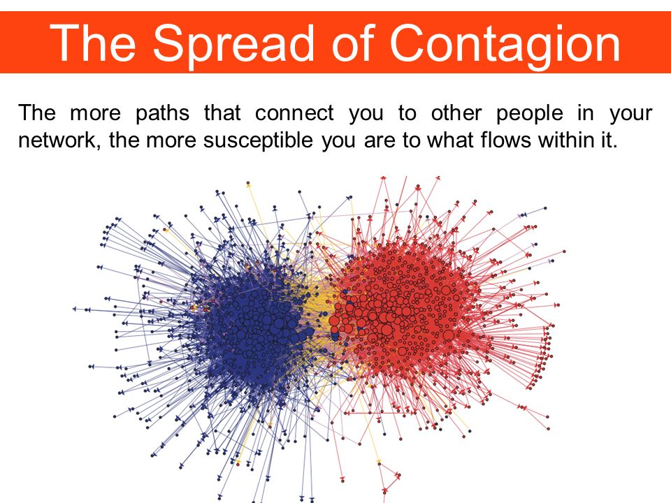 The Spread of Contagion The more paths that connect you to other people in your network, the more susceptible you are to what flows within it.