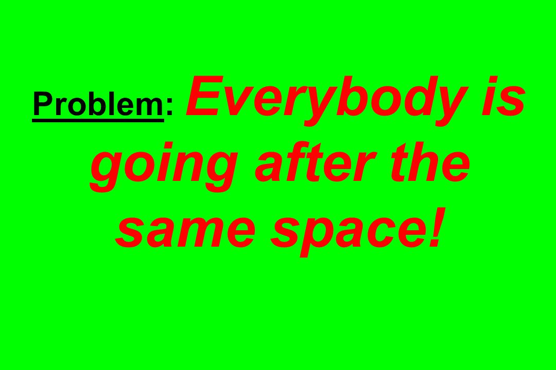 Problem: Everybody is going after the same space!