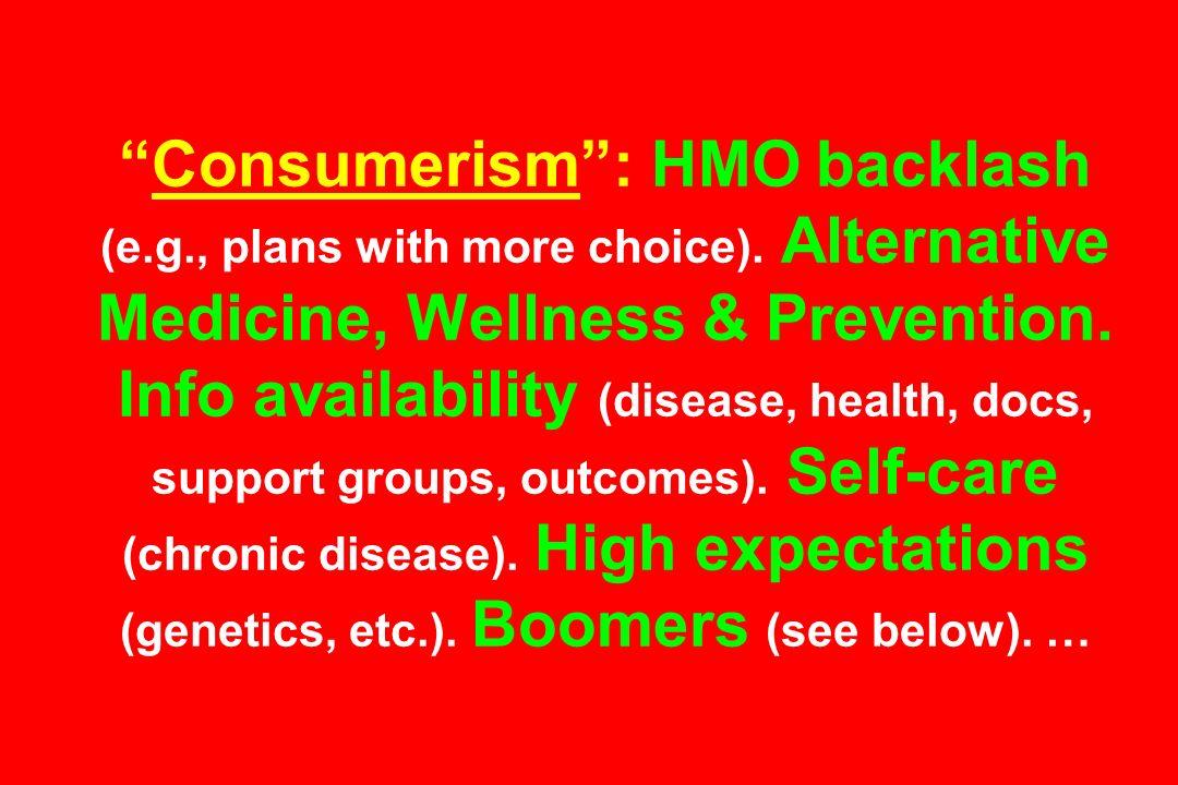 Consumerism: HMO backlash (e.g., plans with more choice). Alternative Medicine, Wellness & Prevention. Info availability (disease, health, docs, suppo