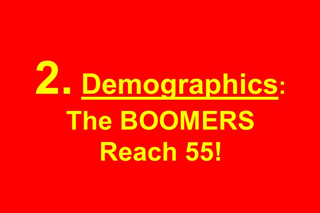 2. Demographics : The BOOMERS Reach 55!