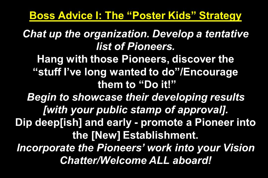 Boss Advice I: The Poster Kids Strategy Chat up the organization. Develop a tentative list of Pioneers. Hang with those Pioneers, discover the stuff I