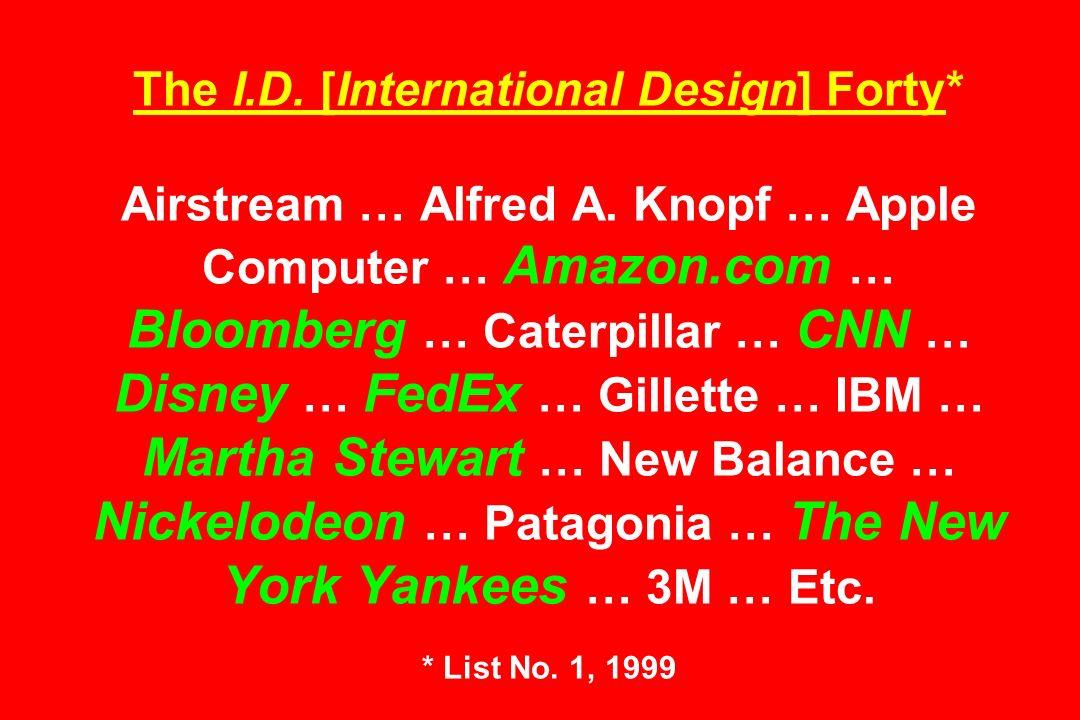 The I.D. [International Design] Forty* Airstream … Alfred A. Knopf … Apple Computer … Amazon.com … Bloomberg … Caterpillar … CNN … Disney … FedEx … Gi