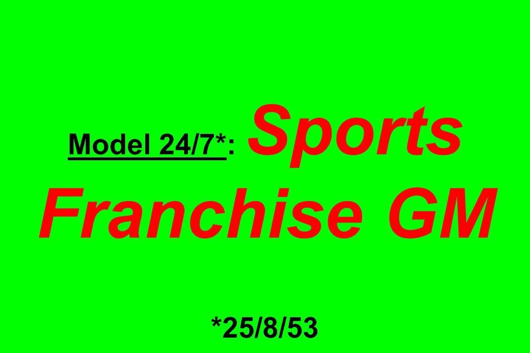 Model 24/7*: Sports Franchise GM *25/8/53
