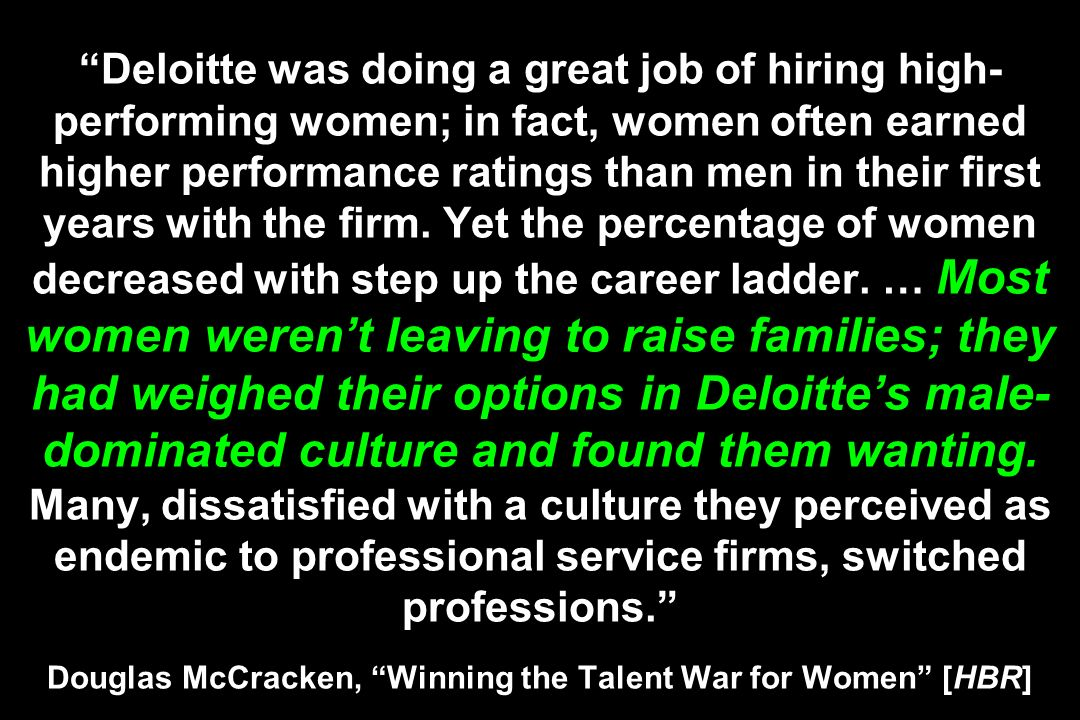 Deloitte was doing a great job of hiring high- performing women; in fact, women often earned higher performance ratings than men in their first years