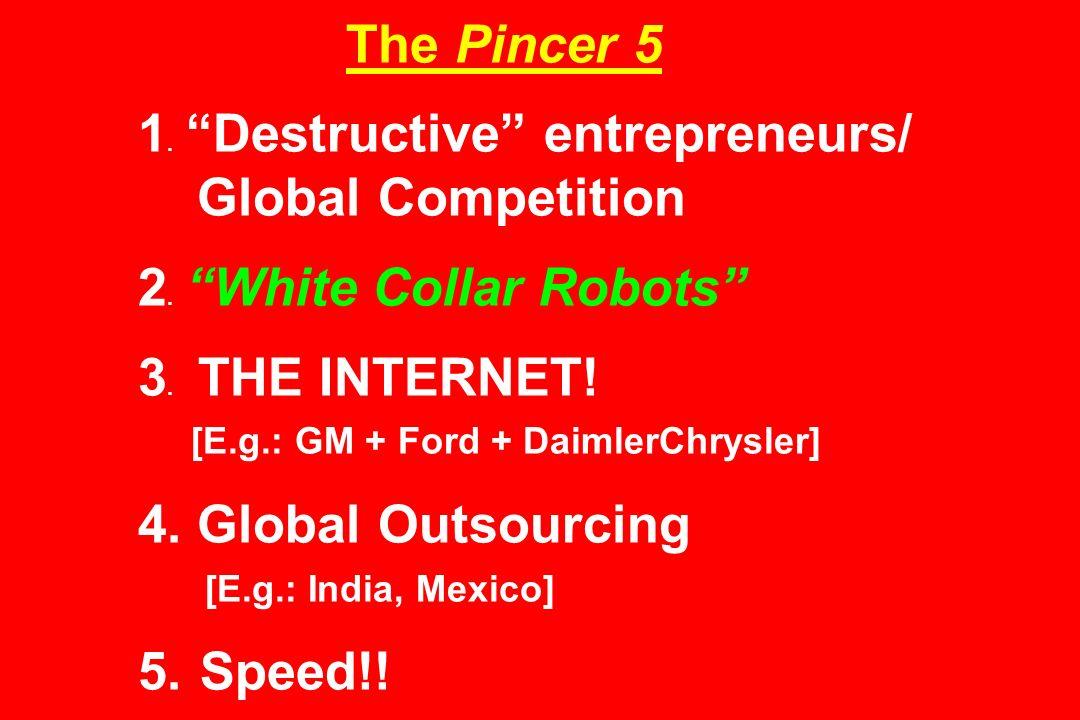 The Pincer 5 1. Destructive entrepreneurs/ Global Competition 2. White Collar Robots 3. THE INTERNET! [E.g.: GM + Ford + DaimlerChrysler] 4. Global Ou