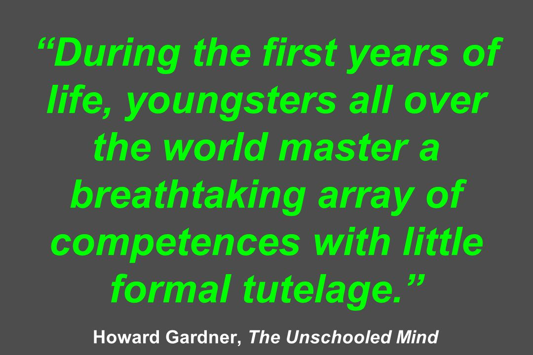 During the first years of life, youngsters all over the world master a breathtaking array of competences with little formal tutelage. Howard Gardner,