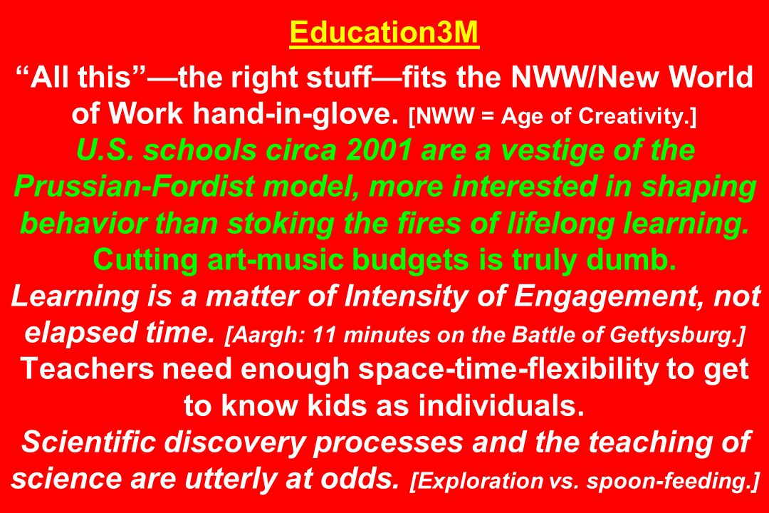 Education3M All thisthe right stufffits the NWW/New World of Work hand-in-glove. [NWW = Age of Creativity.] U.S. schools circa 2001 are a vestige of t