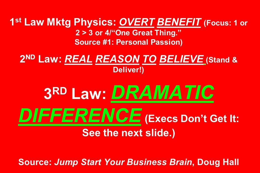 1 st Law Mktg Physics: OVERT BENEFIT (Focus: 1 or 2 > 3 or 4/One Great Thing. Source #1: Personal Passion) 2 ND Law: REAL REASON TO BELIEVE (Stand & D