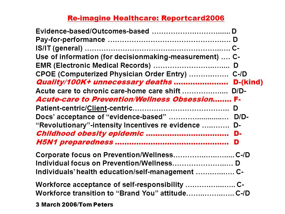 Re-imagine Healthcare: Reportcard2006 Evidence-based/Outcomes-based ……………….………...... D Pay-for-performance ………………………………………….… D IS/IT (general) ………………