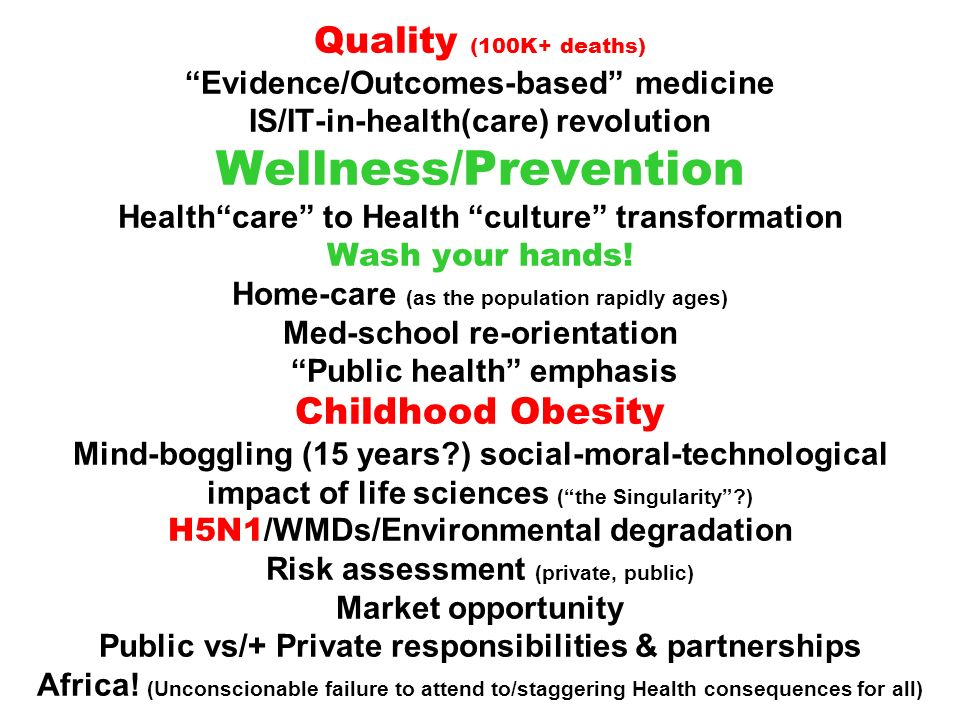 Quality (100K+ deaths) Evidence/Outcomes-based medicine IS/IT-in-health(care) revolution Wellness/Prevention Healthcare to Health culture transformati