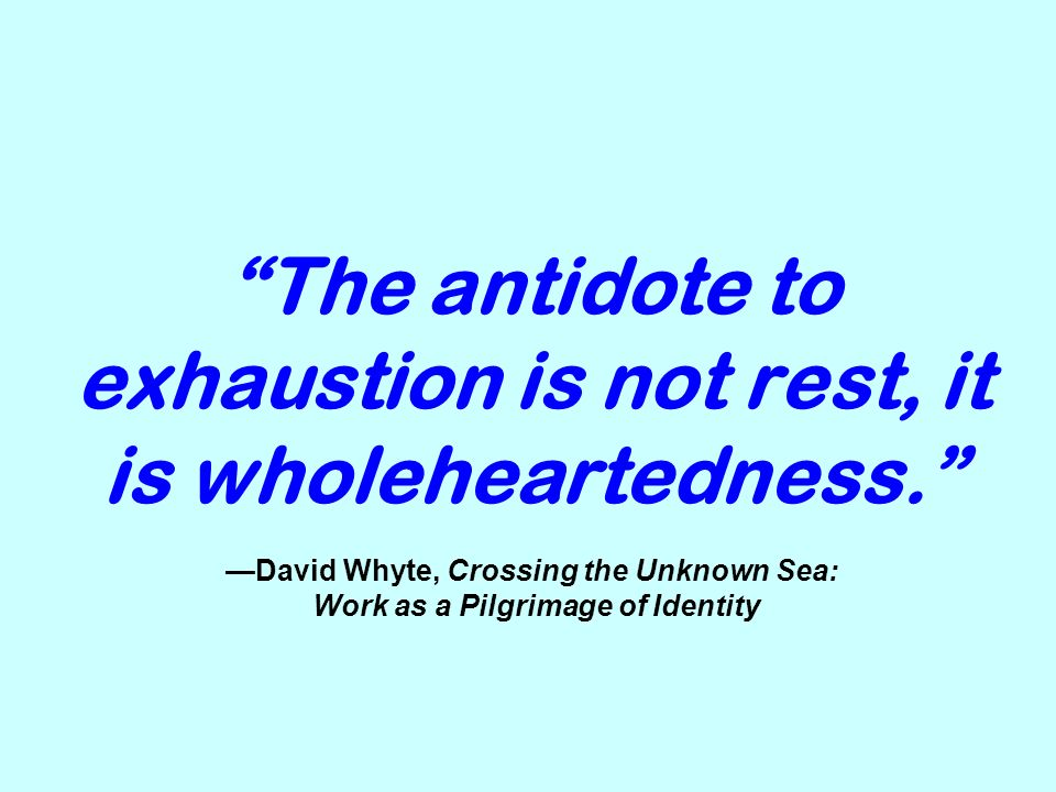 The antidote to exhaustion is not rest, it is wholeheartedness. David Whyte, Crossing the Unknown Sea: Work as a Pilgrimage of Identity
