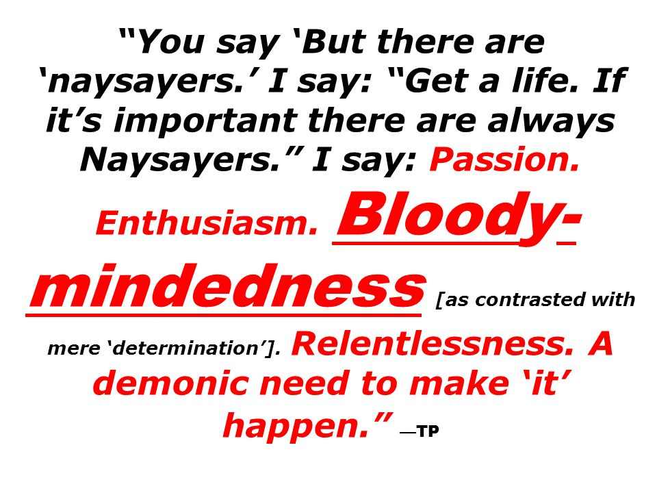 You say But there are naysayers. I say: Get a life. If its important there are always Naysayers. I say: Passion. Enthusiasm. Bloody- mindedness [as co