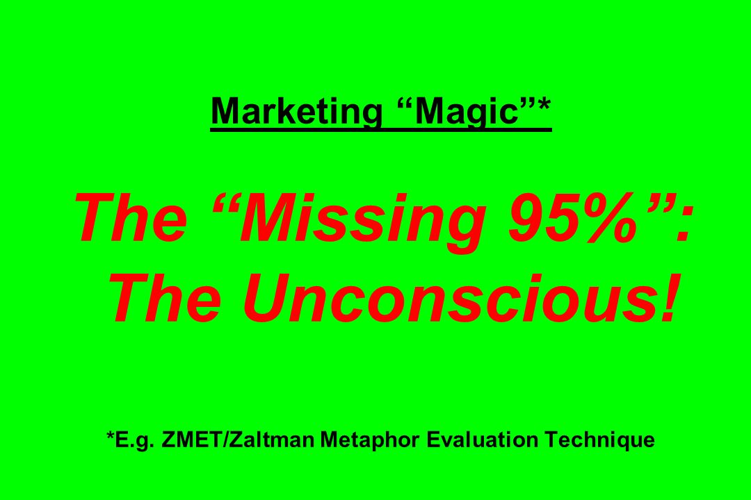 Marketing Magic* The Missing 95%: The Unconscious! *E.g. ZMET/Zaltman Metaphor Evaluation Technique