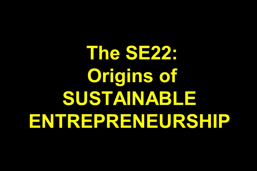 The SE22: Origins of SUSTAINABLE ENTREPRENEURSHIP