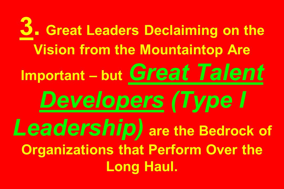 3. Great Leaders Declaiming on the Vision from the Mountaintop Are Important – but Great Talent Developers (Type I Leadership) are the Bedrock of Orga