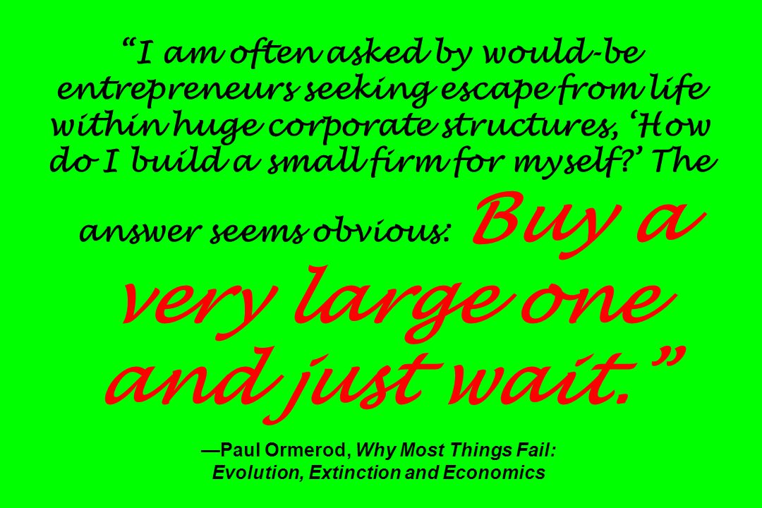 I am often asked by would-be entrepreneurs seeking escape from life within huge corporate structures, How do I build a small firm for myself? The answ