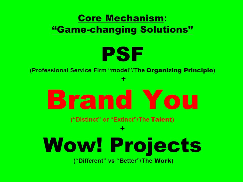 Core Mechanism : Game-changing Solutions PSF (Professional Service Firm model/The Organizing Principle ) + Brand You (Distinct or Extinct/The Talent ) + Wow.