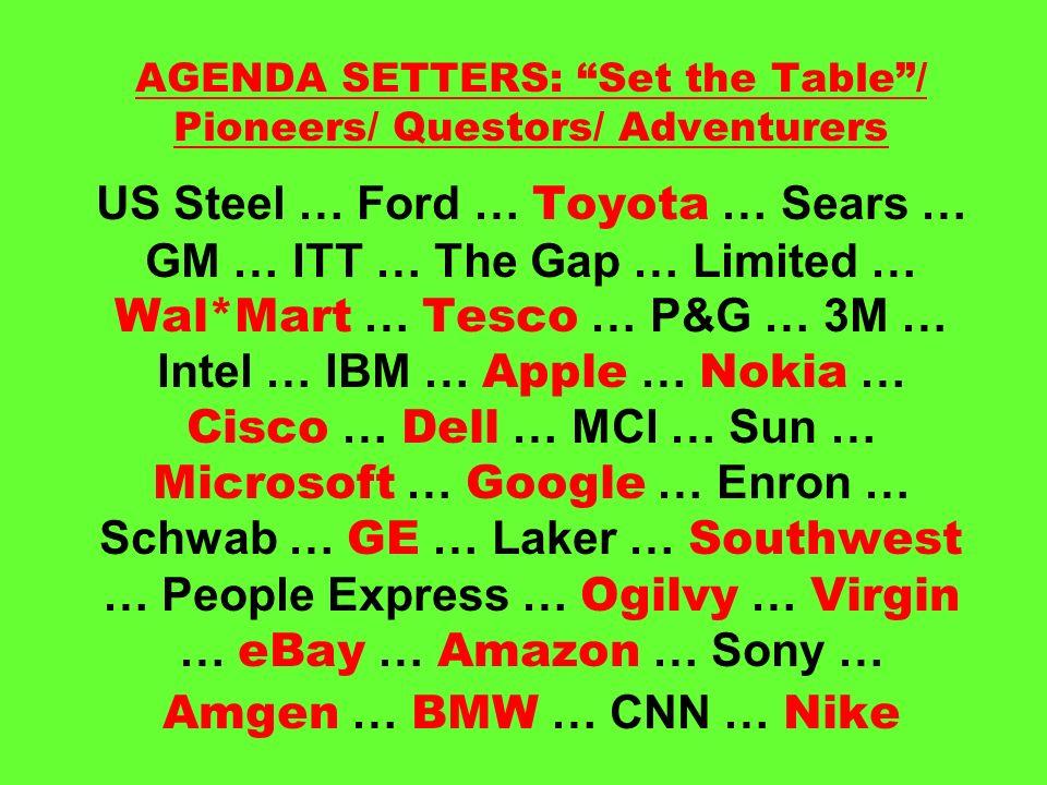 AGENDA SETTERS: Set the Table/ Pioneers/ Questors/ Adventurers US Steel … Ford … Toyota … Sears … GM … ITT … The Gap … Limited … Wal*Mart … Tesco … P&