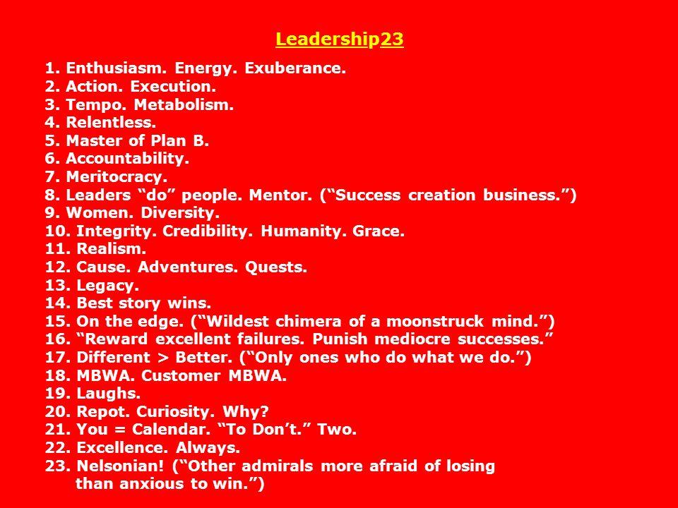 Leadership23 1. Enthusiasm. Energy. Exuberance. 2. Action. Execution. 3. Tempo. Metabolism. 4. Relentless. 5. Master of Plan B. 6. Accountability. 7.