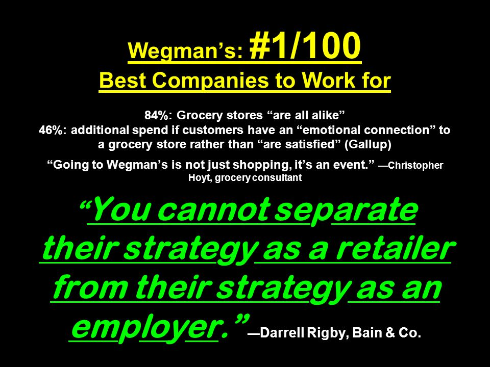 Wegmans: #1/100 Best Companies to Work for 84%: Grocery stores are all alike 46%: additional spend if customers have an emotional connection to a grocery store rather than are satisfied (Gallup) Going to Wegmans is not just shopping, its an event.