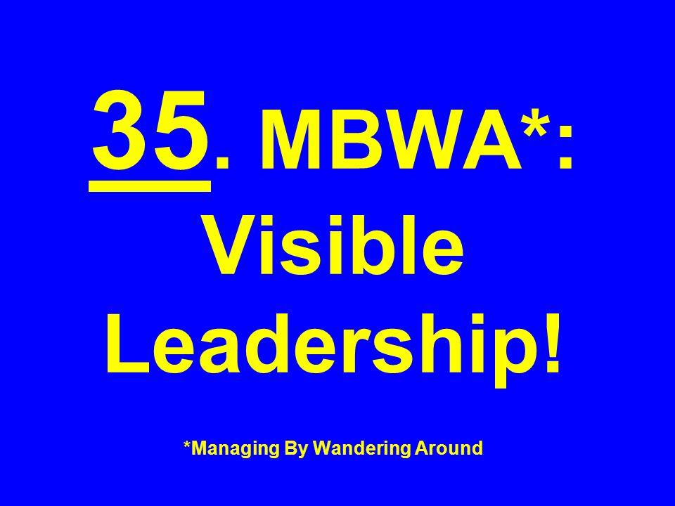 35. MBWA*: Visible Leadership! *Managing By Wandering Around