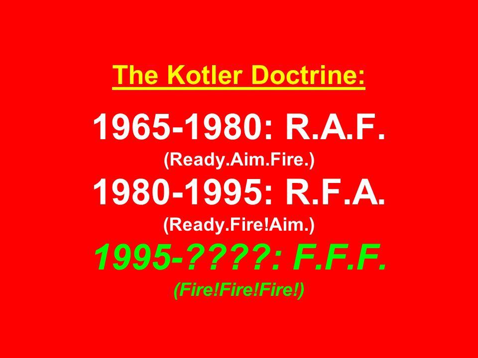 The Kotler Doctrine: 1965-1980: R.A.F. (Ready.Aim.Fire.) 1980-1995: R.F.A.