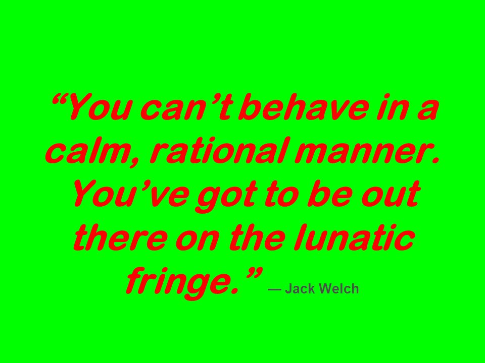 You cant behave in a calm, rational manner. Youve got to be out there on the lunatic fringe.