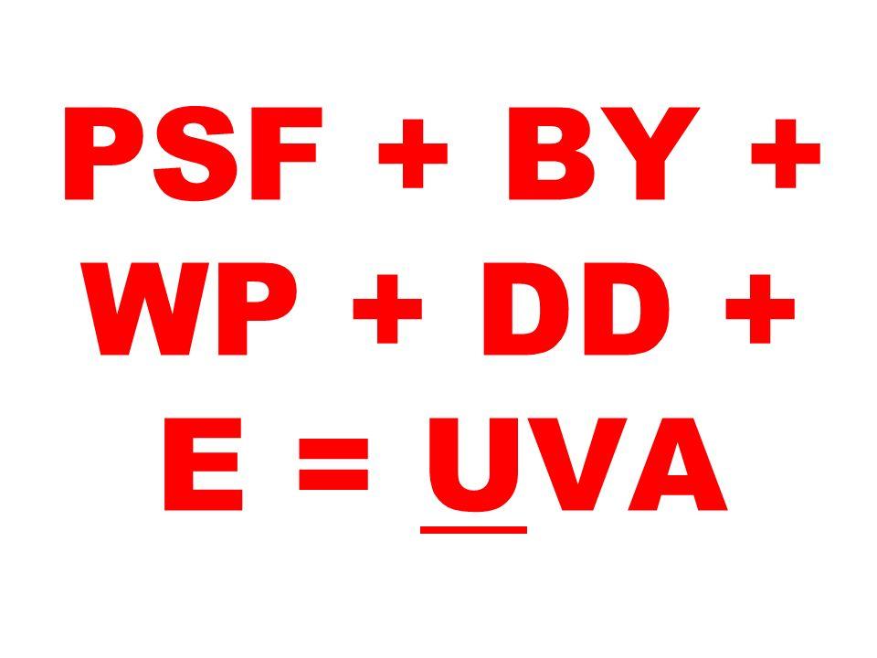 PSF + BY + WP + DD + E = UVA