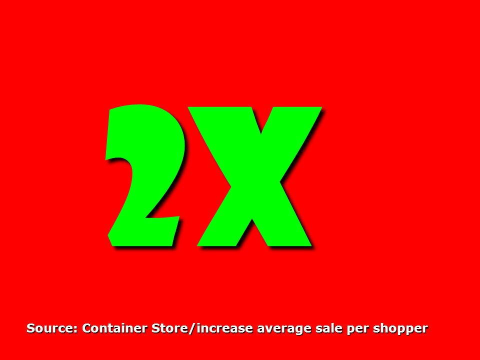 2X 2X Source: Container Store/increase average sale per shopper