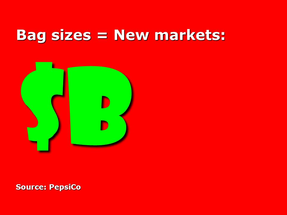 Bag sizes = New markets: $B $B Source: PepsiCo
