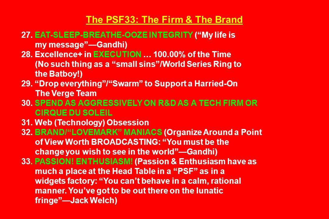 The PSF33: The Firm & The Brand 27.