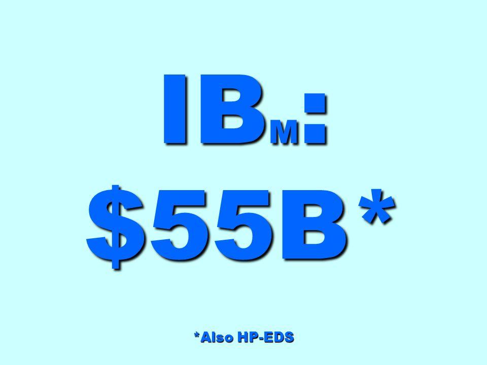 IB M : $55B* *Also HP-EDS