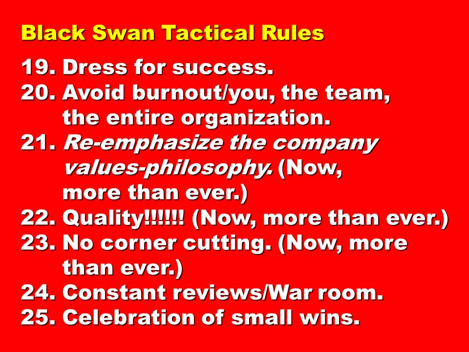 Black Swan Tactical Rules 19.Dress for success. 20.