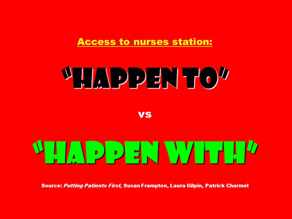 Happen to Happen with Access to nurses station: Happen to vs Happen with Source: Putting Patients First, Susan Frampton, Laura Gilpin, Patrick Charmel