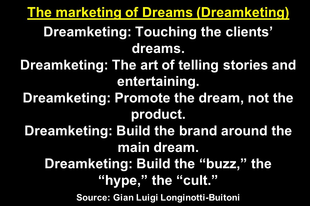 The marketing of Dreams (Dreamketing) Dreamketing: Touching the clients dreams. Dreamketing: The art of telling stories and entertaining. Dreamketing: