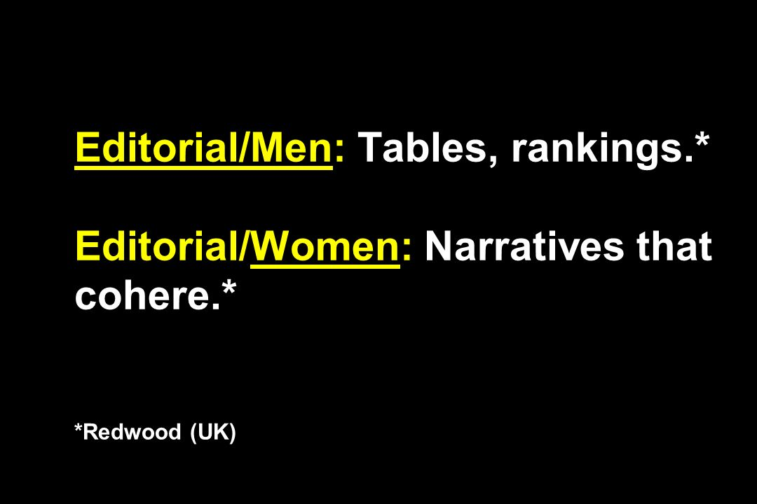 Editorial/Men: Tables, rankings.* Editorial/Women: Narratives that cohere.* *Redwood (UK)