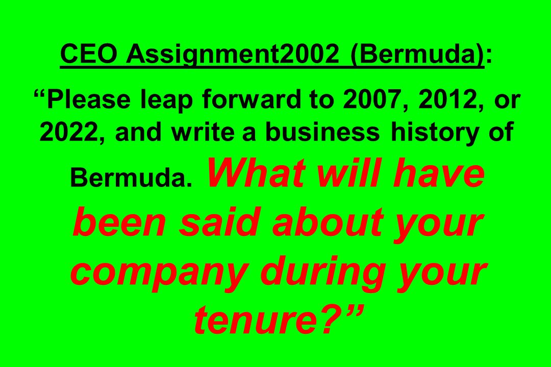 CEO Assignment2002 (Bermuda): Please leap forward to 2007, 2012, or 2022, and write a business history of Bermuda. What will have been said about your