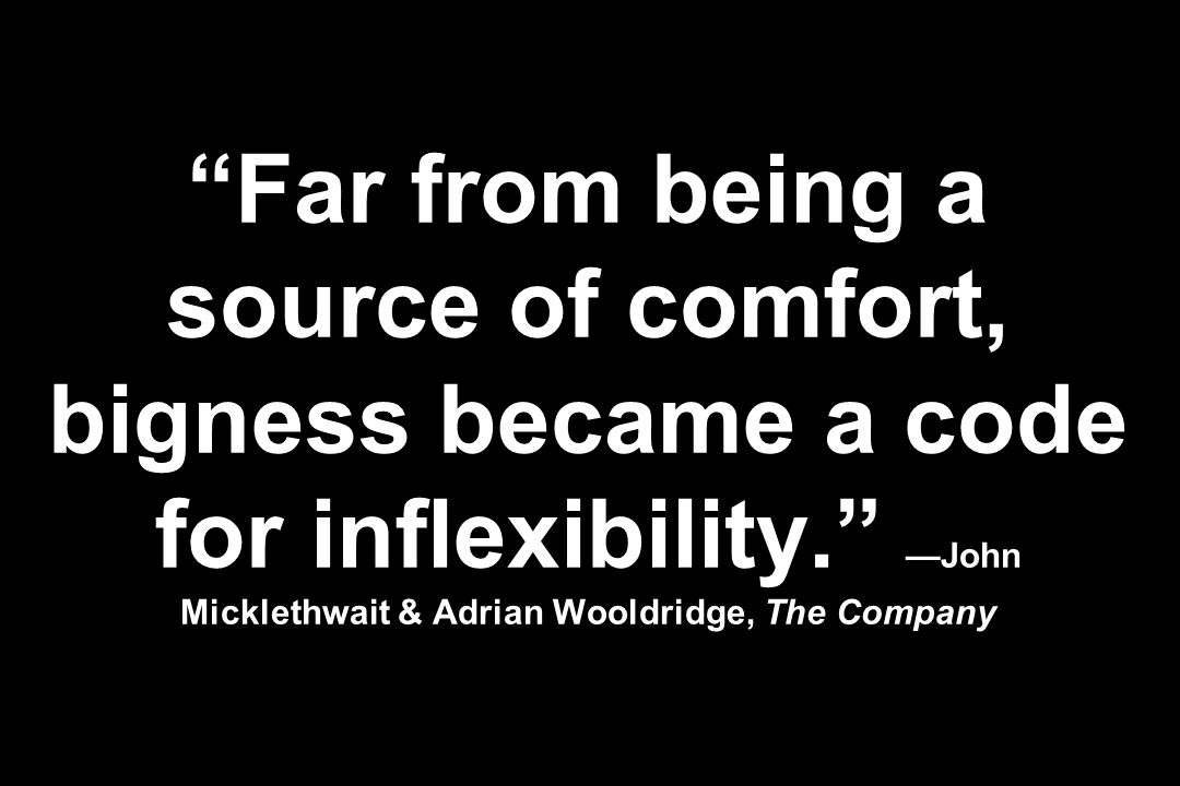 Far from being a source of comfort, bigness became a code for inflexibility. John Micklethwait & Adrian Wooldridge, The Company