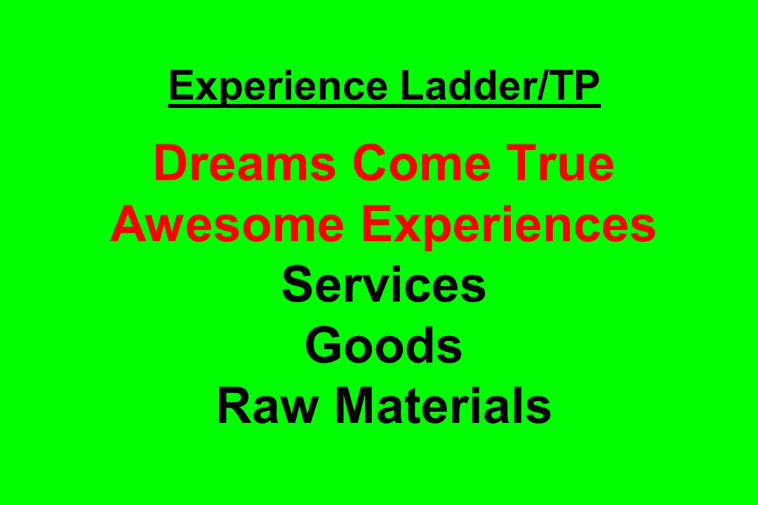 Experience Ladder/TP Dreams Come True Awesome Experiences Services Goods Raw Materials