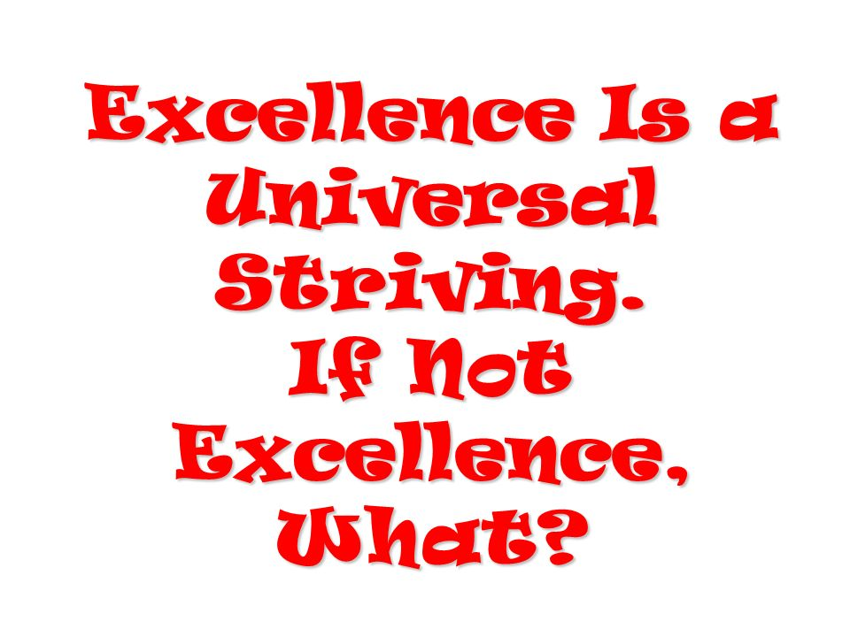 Excellence Is a Universal Striving. If Not Excellence, What?